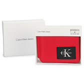 Calvin Klein經典撞色尼龍RFID防盜拉鍊短夾禮盒(紅色)103084-1