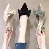 拖鞋女外穿2020新款半拖鞋韓版夏季細跟高跟鞋女時尚包頭半拖鞋女 LF3845【宅男時代城】