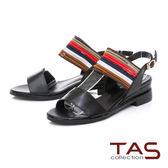 TAS 一字跳色鬆緊帶內增高涼鞋-經典黑