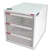【樹德SHUTER】A4-103H白櫃透明抽三層效率櫃