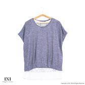 【INI】甜美品味、假兩件式拼接細膩蕾絲上衣.灰色