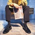 復古英倫風低筒馬丁靴小皮鞋男韓版青少年配西裝學生休閒商務正裝【小艾新品】