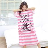 睡裙 夏季女士睡裙中長版加肥加大尺碼睡衣寬鬆莫代爾棉孕婦胖mm家居服
