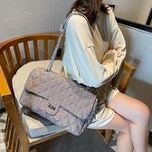 斜背包 小香風包包女2020春秋新款韓版百搭ins單肩斜挎包時尚菱格鏈條包