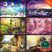 500片木質拼圖塊成人兒童卡通風景益智力趣味玩具【福喜行】