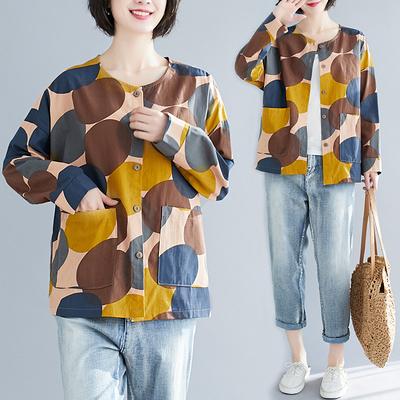 快速出貨 大尺碼女裝 大尺碼棉衫/T恤 棉麻文藝復古印花襯衫顯瘦上衣
