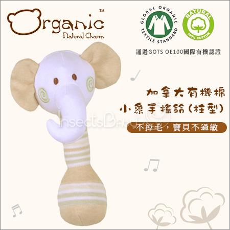 ✿蟲寶寶✿【加拿大Organic】100%有機棉 安心使用 不會掉毛 棉柔軟觸感 手搖鈴 - 大象