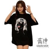 EASON SHOP GW1225 實拍純棉漫畫頭像印花OVERSIZE 圓領七分袖短袖T 恤女上衣服落肩內搭衫素色棉T 恤