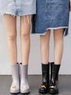 雨鞋女時尚款外穿韓國雨靴加絨可愛中筒女士高跟水鞋防滑水靴防水 快速出貨