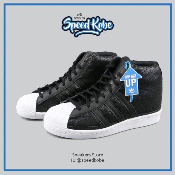 ADIDAS 休閒鞋 Superstar Up 黑白 高筒 亮片 皮革 三葉草 女 S81380【Speedkobe】