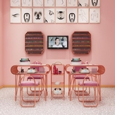 ins網紅大理石美甲桌椅套裝單人雙人金色鐵藝雙層修甲工作台WD 至簡元素