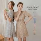 洋裝 Space Picnic|V領鬆緊袖綁帶碎花洋裝(預購)【C21034103】