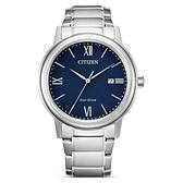 【台南 時代鐘錶 CITIZEN】星辰 AW1670-82L 光動能 羅馬字 日期顯示 鋼錶帶男錶 藍/銀 41.5mm 對錶