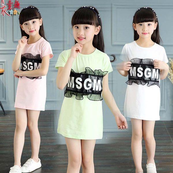 衣童趣 ♥長版短袖圓領T恤 女童時尚英文字母蕾絲LOGO 可當洋裝穿 休閒百搭款