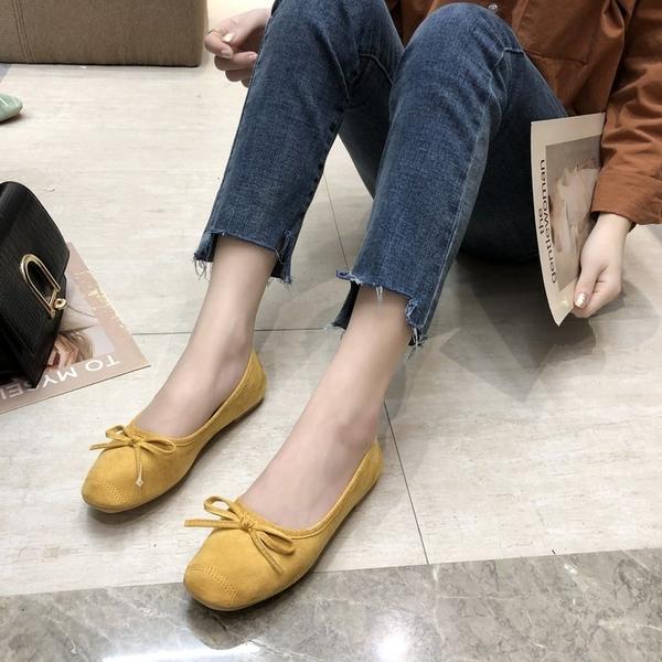 豆豆鞋 春夏季韓國復古INS溫柔蝴蝶結淺口芭蕾鞋單鞋平底豆豆鞋女鞋軟底