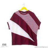 【INI】透氣舒適、寬袖版涼感設計上衣.紅色