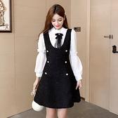 第二件4折 韓國風復古小香風蕾絲拼接燈籠袖收腰長袖洋裝