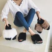 歐美復古平底毛拖鞋 舒適防滑懶人拖鞋 毛毛鞋
