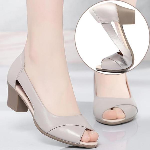 低跟鞋 2021夏季新款粗跟百搭舒適軟底中跟女鞋媽媽涼鞋中年婦女士魚嘴鞋
