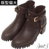Ann'S重點造型-側T型皮帶釦鬆緊粗跟短靴-咖