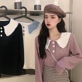 長袖襯衫秋季2021年新款法式長袖娃娃領襯衫女設計感小眾早秋氣質襯衣上衣  伊蘿
