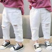 女童刷破牛仔褲2020新款洋氣1小童3歲5女寶寶4春夏長褲乞丐褲子潮外穿 LR20692『毛菇小象』