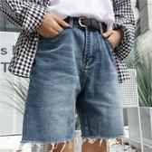 Korea studios.19韓國復古水洗毛邊闊腿直筒牛仔五分短褲 男女款