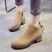 秋新款馬丁靴英倫學生韓版中跟粗跟靴子短靴女鞋冬季加絨棉靴Mandyc