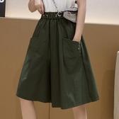 高腰五分闊腿褲女2020夏季新款大口袋寬鬆休閒顯瘦直筒牛仔短褲裙 韓國時尚週