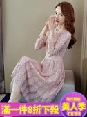 蕾絲洋裝加絨加厚蕾絲連衣裙年新款女秋天流行收腰顯瘦氣質打底裙子JY-『美人季』