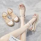 坡跟涼鞋 坡跟涼鞋女夏新款百搭厚底鬆糕時裝仙女風潮輕便女士涼鞋