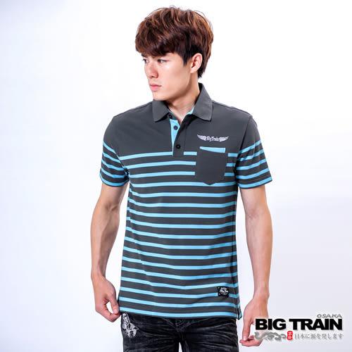 BIG TRAIN 時尚條紋POLO衫-男-鐵灰淺藍