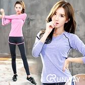 【R】運動長袖棉T 健身服 瑜珈休閒 吸濕排汗 顯瘦段染 上衣