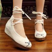 老北京布鞋女民族風繡花鞋系帶內增高坡跟漢服搭配鞋復古風舞蹈鞋 韓流時裳