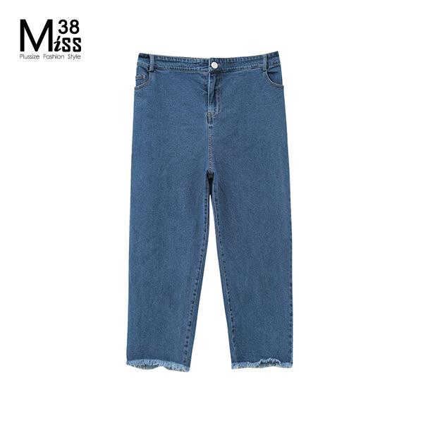 Miss38-(現貨)【A09179】大尺碼牛仔長褲 BF風男友褲 寬鬆純色 後鬆緊腰 不收邊九分褲 -中大尺碼