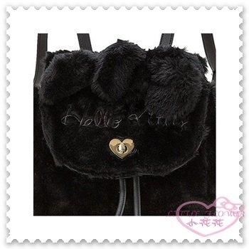♥小花花日本精品♥ Hello Kitty 絨毛 掀蓋後背包 可背可提 黑色 立體耳朵 秋冬時尚包款 42154402