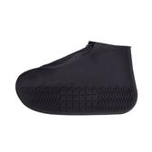 【Incare】防水拉鍊防滑矽膠雨鞋套(S-XL/三色可選)黑色S