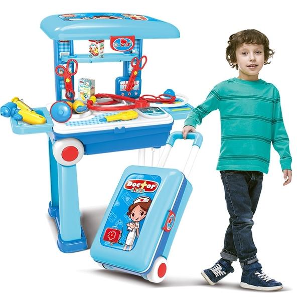 小小醫師2合1拉桿旅行箱移動工具組~醫護仿真工作桌台~家家酒玩具~~幼之圓