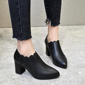 英倫鞋 粗跟尖頭單鞋女新款英倫復古高跟鞋百搭春秋小皮鞋休閒女鞋子 時尚芭莎