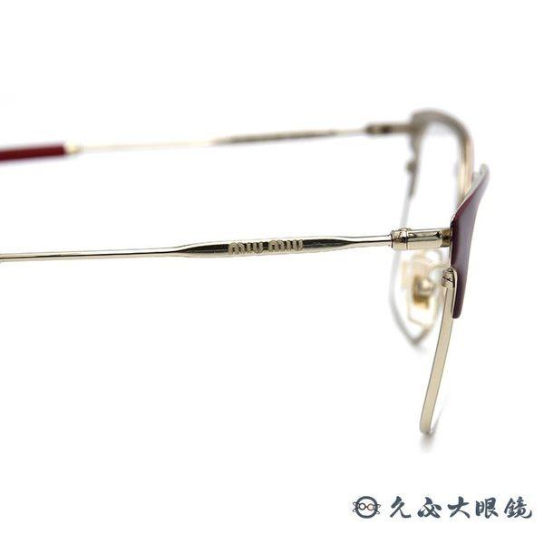 Miu Miu 眼鏡 優雅 眉框 近視眼鏡 VMU52O UE5-1O1 紅-金 久必大眼鏡