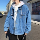 春秋季新款超火ins男士寬鬆牛仔衣 單寧夾克可拆帽外套 學生百搭上衣潮 『bad boy時尚』