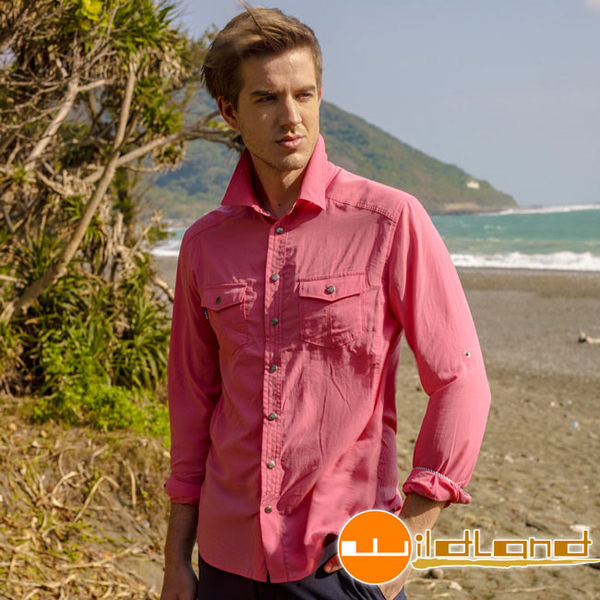 Wildland 荒野 0A31296-71粉紅色 男 RE雙色時尚抗UV長袖襯衫/顯瘦修身剪裁/休閒上衣/薄長袖