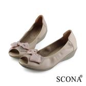 SCONA 蘇格南 全真皮 水鑽蝴蝶結楔型魚口鞋 杏色 31029-2