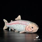 鱒魚公仔 仿真虹鱒魚毛絨玩具 仿真動物毛絨玩具 42CM