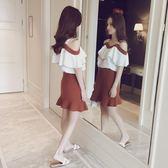 時尚套裝女夏季新款女裝一字領吊帶上衣 半身短裙雪紡兩件套(全館滿1000元減120)