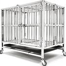 加粗方管不鏽鋼寵物籠(上掀天窗+移動輪)白鐵不銹鋼狗籠狗柵欄.加厚大狗屋小狗窩貓籠子收納