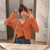 針織外套女短款寬鬆毛衣休閒氣質開衫上衣【橘社小鎮】
