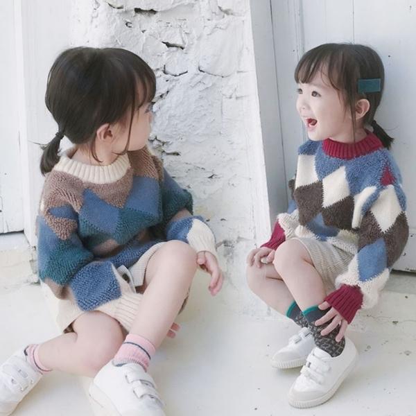 *╮小衣衫S13╭*男女童時尚稜形幾何拼色長袖毛衣1071113