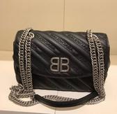 ■專櫃55折■Balenciaga  全新真品 BB Round S 小牛皮可滑動鏈帶兩用包 黑色