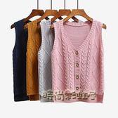 春裝新款百搭V領毛衣背心開衫女韓版無袖坎肩馬甲針織外套潮「時尚彩虹屋」